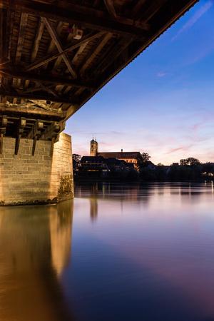 Bad Saeckingen met houten brug Stockfoto - 88247801