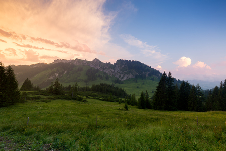 Beierse Alpen met bergmening en weiden in Allgau Stockfoto - 86029546