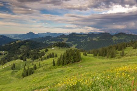 Beierse Alpen met bergmening en weiden in Allgau Stockfoto - 86029548