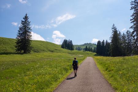 Vrouwelijke wandelaar in de Duitse Alpen Stockfoto - 86105735