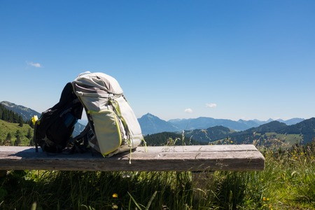 hiking backpacks with german alps backdrop