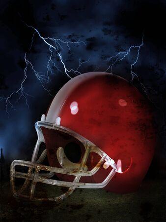 casco rojo: Ilustración de fútbol americano