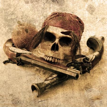 schatkaart: piraatschedel strand grunge Stockfoto