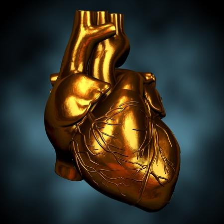corazones azules: coraz�n de oro Foto de archivo