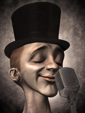 microfono antiguo: cantante Foto de archivo