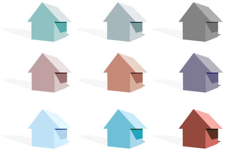 roofing: 3d house icons Stock Photo