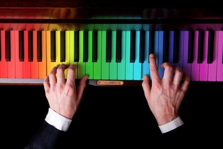 of mozart: rainbow piano music  Stock Photo