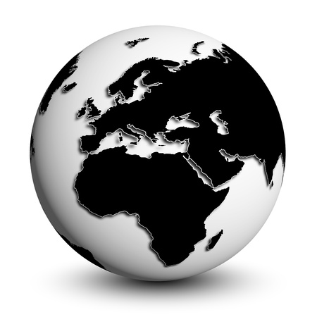 maps globes and flags: simplicistic black white globe