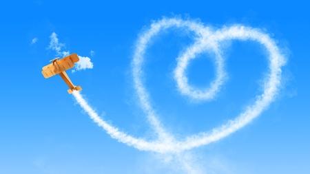 piloto de avion: Skywriter esponjoso corazón Foto de archivo