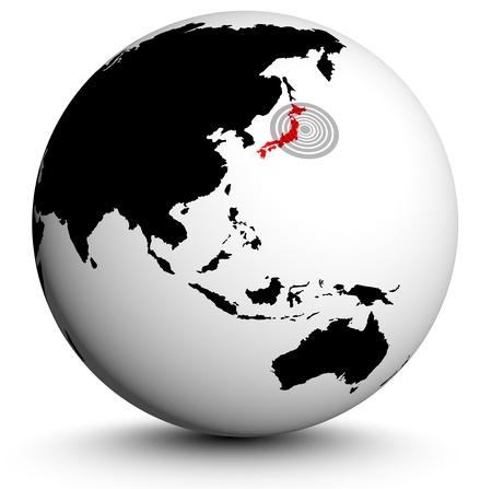 destructive: fukushima globe illustration