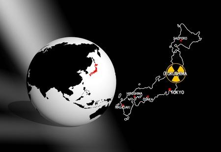 nuclear reactor: fukushima black situation room illustration