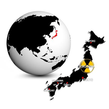 fukushima globe and map