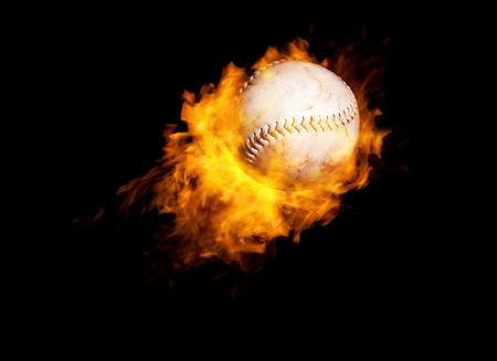 baseball on fire photo