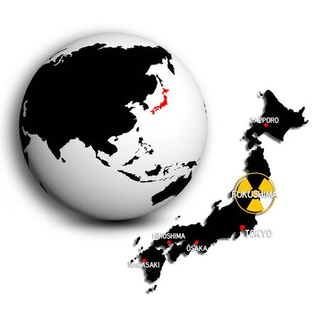 nuclear explosion: fukushima globe and map  Stock Photo