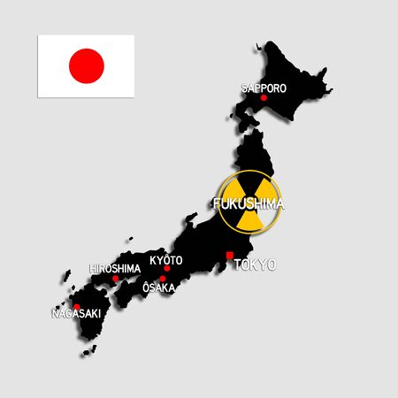 nuclear power plant: fukushima map Stock Photo