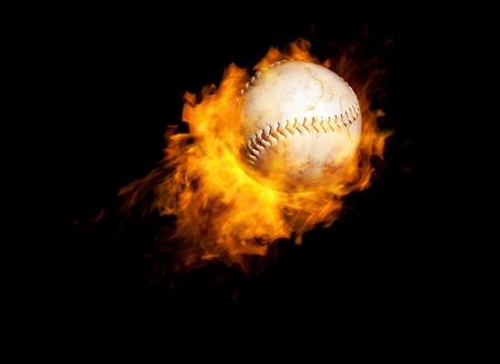 baseball on fire a hot combination photo