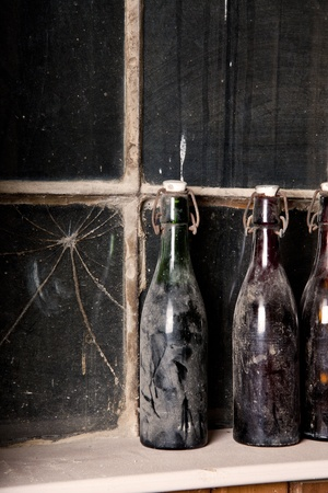 vintage fles stilleven Stockfoto