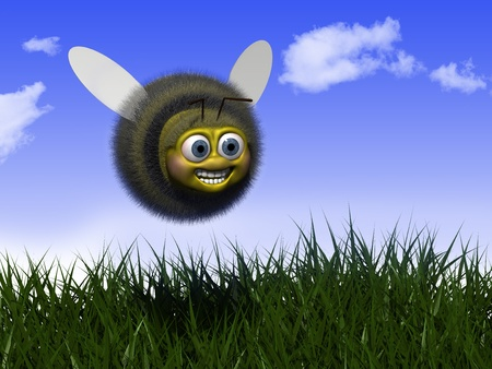 cartoon mouth: Happy Bee flying in Nature