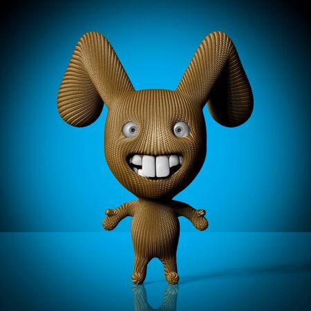Funny cartoon rabbit character-3d