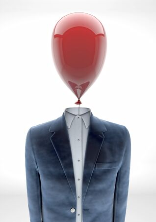 Business man with balloon head - burnout -  photo
