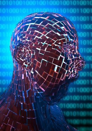 apart: Virtual Internet man is breaking apart in Cyber Space Stock Photo