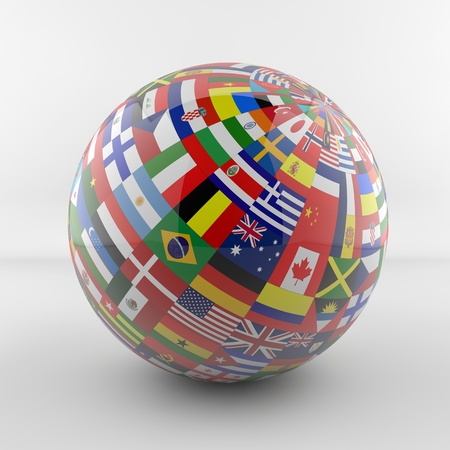 cosmopolitan: Glossy Flag Globe with different country flags