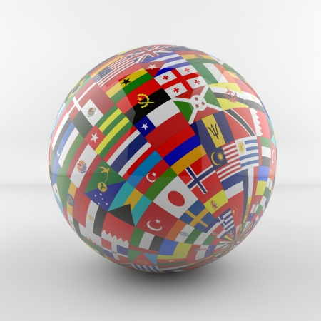 Glossy Flag Globe with different country flags  photo