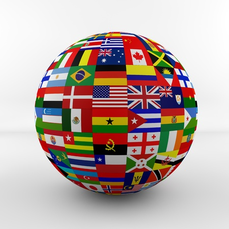 asia globe: Flag Globe with different country flags