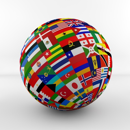 Flag Globe with different country flags  photo