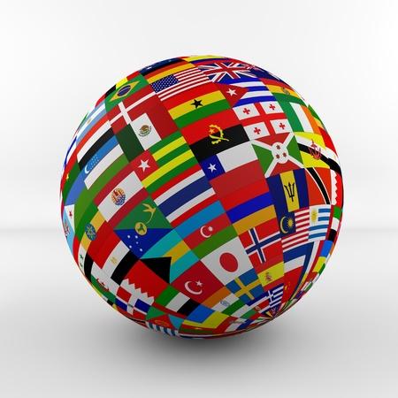 bandera de suecia: La bandera del globo con las banderas de los diferentes pa�ses