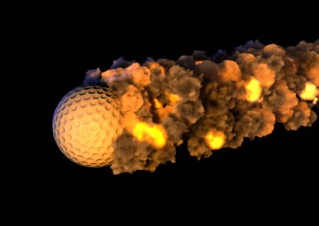 final: golf ball on fire Stock Photo