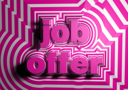 first job: job offer abstract text background Stock Photo