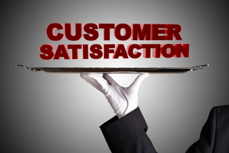satisfaction client: Premi�re satisfaction de la client�le de classe Banque d'images