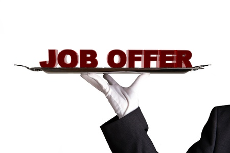 job opportunity: First Class Job Offer  Stock Photo