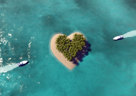 luna de miel: Heart Shaped Isla Para�so Foto de archivo