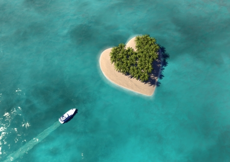 Heart Shaped Paradise Island Stock Photo