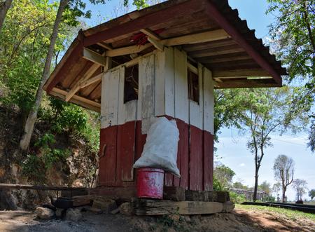 Watchmans hut at the wooden bridge. The Wampo Viaduct, Death Railway, Kanchanaburi, Thailand Stock Photo