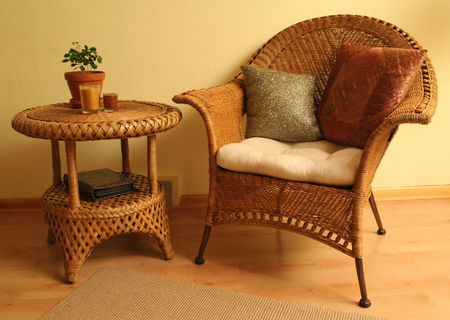 Wicker chair and wicker table Banco de Imagens