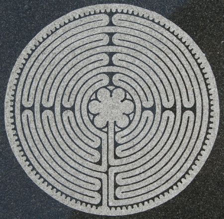 inner peace: Labyrinth etched in marble Stock Photo