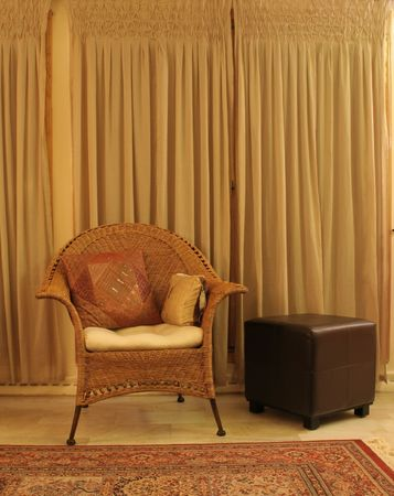 New silky curtains helped create this living room scene Banco de Imagens