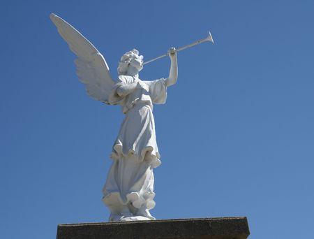 Angel Plays Horn Stok Fotoğraf