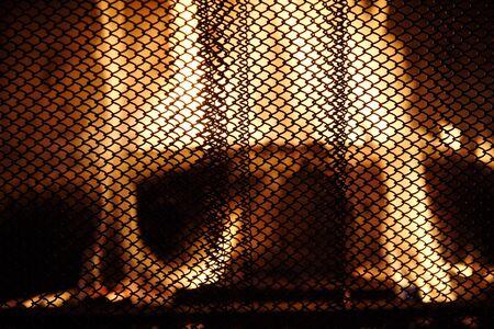 Mesh fireplace curtain Banco de Imagens