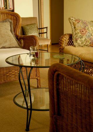 Glass table room scene Banco de Imagens