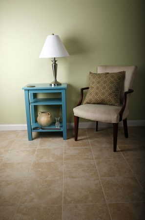 Table and chair on tile