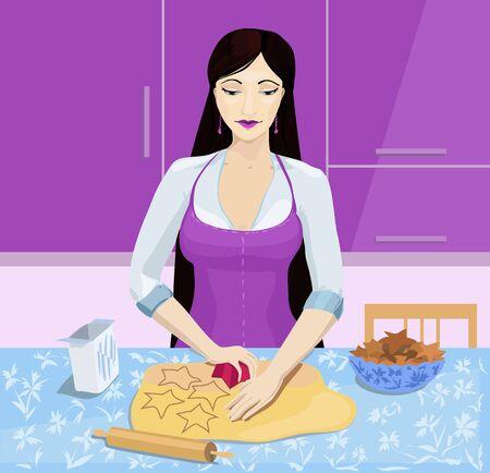 Ilustración de galletas cocinar de la mujer joven
