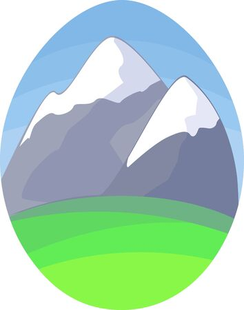 snowcapped mountain: Illustration of mountain and grass in oval shape