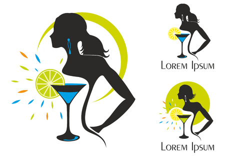 cameo: Illustration of woman silhouettes with a cocktail on white background. Night club theme.