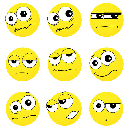 perplexity: Set of smiley faces expressing different feelings, illustration on white background Illustration