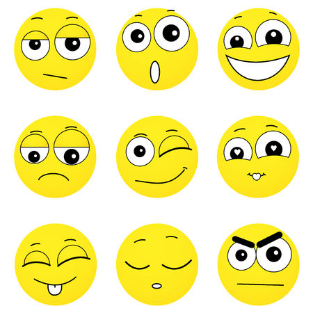 smiling face: Set of smiley faces expressing different feelings, illustration on white background Illustration