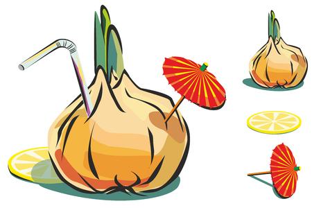 cocktail umbrella: Illustration of onion with lemon, cocktail umbrella and straw